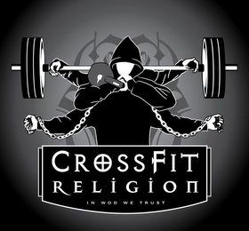 mark for CF CROSSFIT RELIGION IN WOD WE TRUST, trademark #85934873