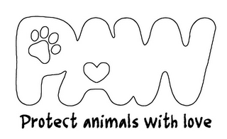 mark for PAW PROTECT ANIMALS WITH LOVE, trademark #85937311