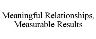 mark for MEANINGFUL RELATIONSHIPS, MEASURABLE RESULTS, trademark #85945892