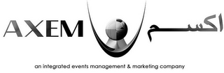 mark for AXEM AN INTEGRATED EVENTS MANAGEMENT & MARKETING COMPANY, trademark #85945974