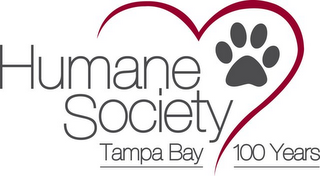 mark for HUMANE SOCIETY TAMPA BAY 100 YEARS, trademark #85951540