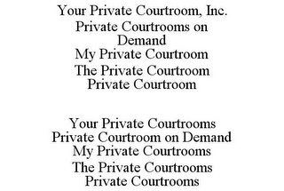mark for YOUR PRIVATE COURTROOM, INC. PRIVATE COURTROOMS ON DEMAND MY PRIVATE COURTROOM THE PRIVATE COURTROOM PRIVATE COURTROOM YOUR PRIVATE COURTROOMS PRIVATE COURTROOM ON DEMAND MY PRIVATE COURTROOMS THE PRIVATE COURTROOMS PRIVATE COURTROOMS, trademark #85952663