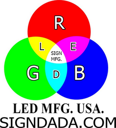 mark for LED MFG. USA. SIGNDADA.COM R G B L E D SIGN MFG, trademark #85952869