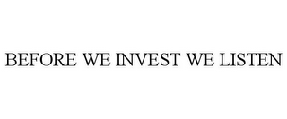mark for BEFORE WE INVEST WE LISTEN, trademark #85965027