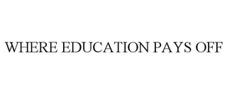 mark for WHERE EDUCATION PAYS OFF, trademark #85977639