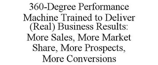mark for 360-DEGREE PERFORMANCE MACHINE TRAINED TO DELIVER (REAL) BUSINESS RESULTS: MORE SALES, MORE MARKET SHARE, MORE PROSPECTS, MORE CONVERSIONS, trademark #86006031