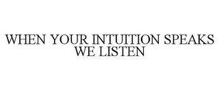 mark for WHEN YOUR INTUITION SPEAKS WE LISTEN, trademark #86078491