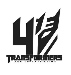 mark for 4 TRANSFORMERS AGE OF EXTINCTION, trademark #86106363