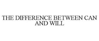 mark for THE DIFFERENCE BETWEEN CAN AND WILL, trademark #86117620
