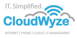 mark for IT. SIMPLIFIED. CLOUDWYZE INTERNET | PHONE | CLOUD | IT MANAGEMENT, trademark #86129668