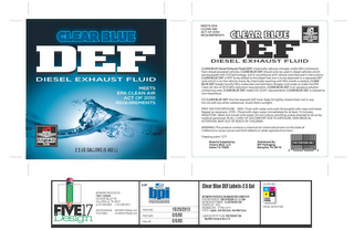 mark for CLEAR BLUE DEF DIESEL EXHAUST FLUID MEETS EPA CLEAN AIR ACT OF 2010 REQUIREMENTS API AMERICAN PETROLEM INSTITUTE CERTIFIED DIESEL EXHAUST FLUID, trademark #86170005