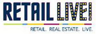 mark for RETAIL LIVE! RETAIL. REAL ESTATE. LIVE., trademark #86192547