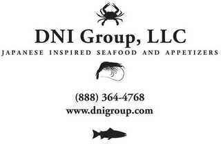 mark for DNI GROUP, LLC JAPANESE INSPIRED SEAFOOD AND APPETIZERS (888) 364-4768 WWW.DNIGROUP.COM, trademark #86815827