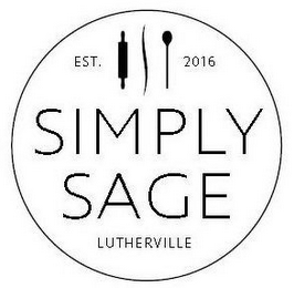 mark for EST. 2016 SIMPLY SAGE LUTHERVILLE, trademark #86931599