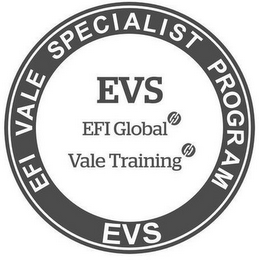 mark for EFI VALE SPECIALIST PROGRAM EVS EVS EFIGLOBAL VALE TRAINING, trademark #87142134