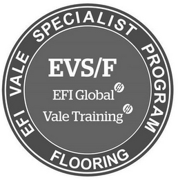 mark for EFI VALE SPECIALIST PROGRAM FLOORING EVS/F EFI GLOBAL VALE TRAINING, trademark #87142139