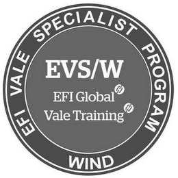 mark for EFI VALE SPECIALIST PROGRAM WIND EVS/W EFI GLOBAL VALE TRAINING, trademark #87145491