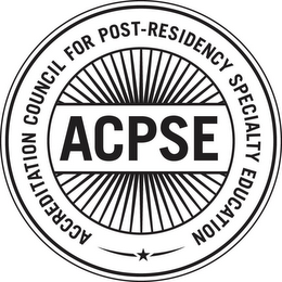 mark for ACPSE ACCREDITATION COUNCIL FOR POST-RESIDENCY SPECIALTY EDUCATION, trademark #87178775