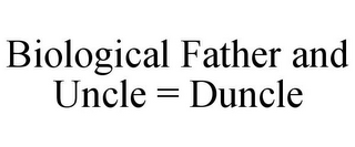 mark for BIOLOGICAL FATHER AND UNCLE = DUNCLE, trademark #87242614