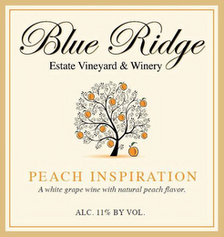 mark for BLUE RIDGE ESTATE VINEYARD & WINERY PEACH INSPIRATION A WHITE GRAPE WINE WITH NATURAL PEACH FLAVOR ALC. 12.5% BY VOL., trademark #87301631