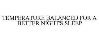 mark for TEMPERATURE BALANCED FOR A BETTER NIGHT'S SLEEP, trademark #87460638