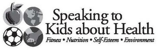 mark for SPEAKING TO KIDS ABOUT HEALTH FITNESS NUTRITION SELF-ESTEEM ENVIRONMENT, trademark #87679803