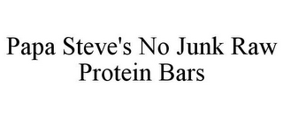 mark for PAPA STEVE'S NO JUNK RAW PROTEIN BARS, trademark #87779662