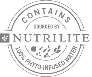 mark for NUTRILITE CONTAINS 100% PHYTO-INFUSED WATER SOURCED BY NUTRILITE, trademark #87810672