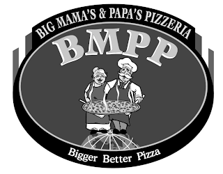 "mark for BIG MAMA'S & PAPA'S PIZZERIA, BMPP, ""HOME OF THE WORLD'S LARGEST PIZZA"" RESTAURANT FOOD IN A BOX, trademark #87812676"