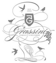 mark for EST. 2002 G 5 GRASSINI FAMILY VINEYARDS, trademark #87814953