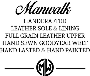 mark for MANWALK HANDCRAFTED LEATHER SOLE & LINING FULL GRAIN LEATHER UPPER HAND SEWN GOODYEAR WELT HAND LASTED & HAND PAINTED, trademark #87839732