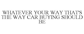 mark for WHATEVER YOUR WAY THAT'S THE WAY CAR BUYING SHOULD BE, trademark #88279484